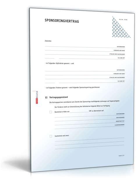 Vorlage Schenkungsvertrag Schweiz Sponsoringvertrag Muster Vorlage Zum