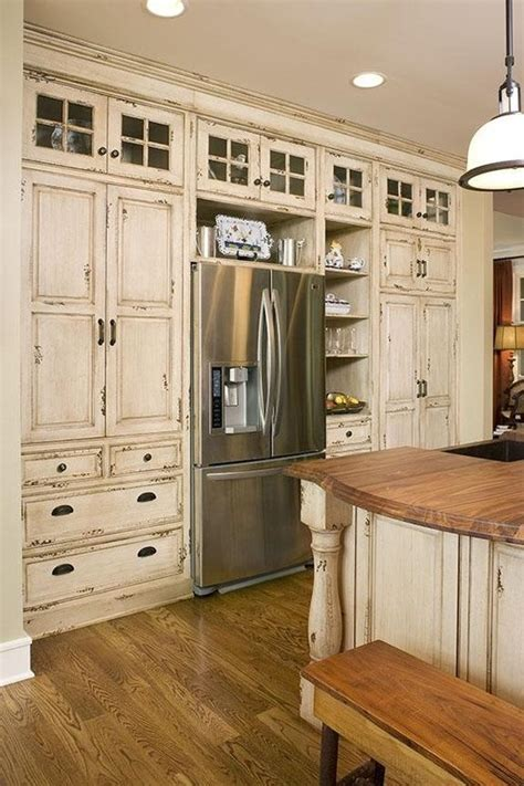 distressed kitchen glasses and cabinets on
