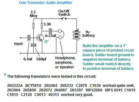 one transistor lifier audio poor mans electronics web page one transistor audio lifier