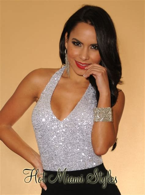Poly Barbara Lowback Low Back Top silver sequin halter low back bodysuit