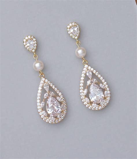 Gold Chandelier Earrings For Wedding Gold Chandelier Earrings Gold Bridal Earrings Gold Crystal