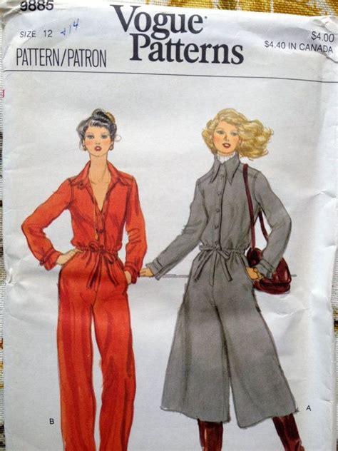 vintage jumpsuit pattern vintage jumpsuit pattern vogue 9885 size 12 bust 34