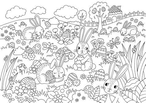 coloring pages easter egg hunt free easter egg hunt colouring download hobbycraft blog