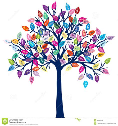 clipart alberi albero colorato con le foglie di sconto illustrazione di