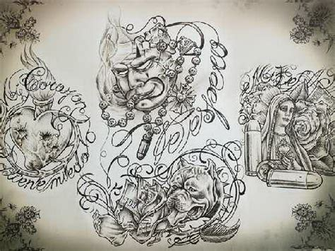 mexican tattoo designs art chicano tattoos zimg chicanos drawings font