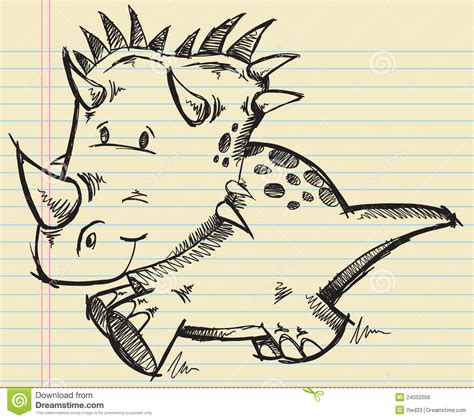 doodle dini triceratops dinosaur doodle sketch royalty free stock