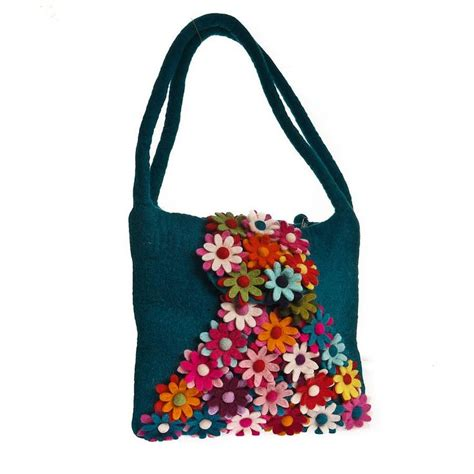 Handmade Bags Design - handmade felt floral design bag teal