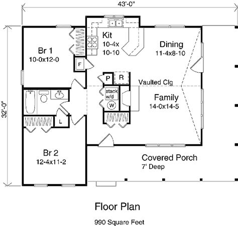 Country Style House Plan   2 Beds 1 Baths 990 Sq/Ft Plan