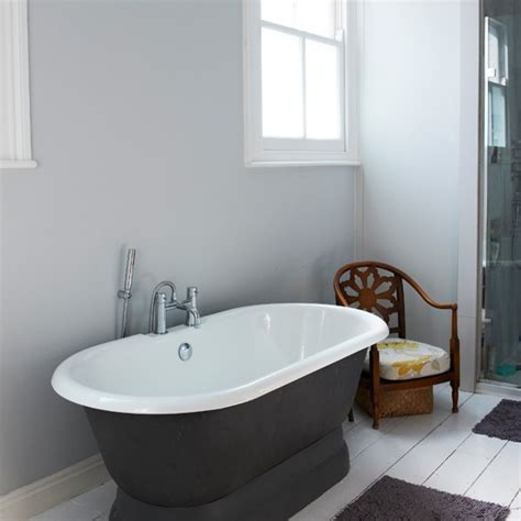 charcoal bathroom freestanding bath in charcoal and white bathroom