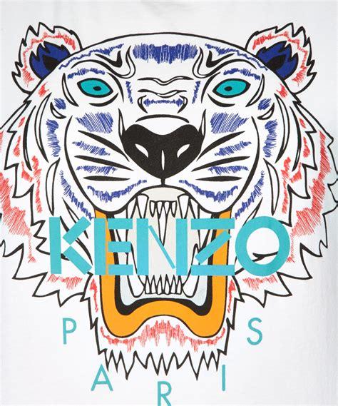 Kenzo Tiger lyst kenzo white cotton tiger tshirt in white for