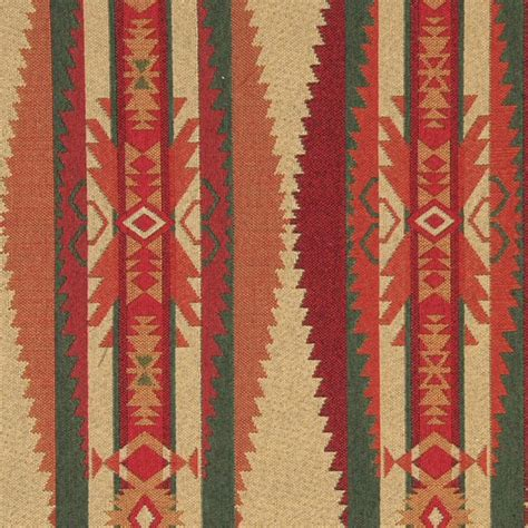 southwest drapery fabric red green biege and orange southwest style upholstery