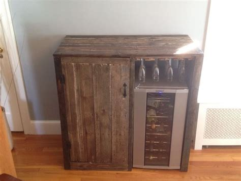 diy liquor cabinet with mini fridge my first pallet project rustic liquor cabinet with built