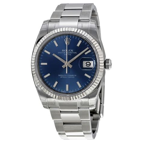 Rolex Oyster Perpetual Gold rolex oyster perpetual date blue fluted 18kt white