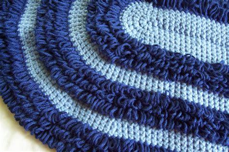 crochet shag rug oval crochet shag rug retro pattern loopy blue by highforestcrafts
