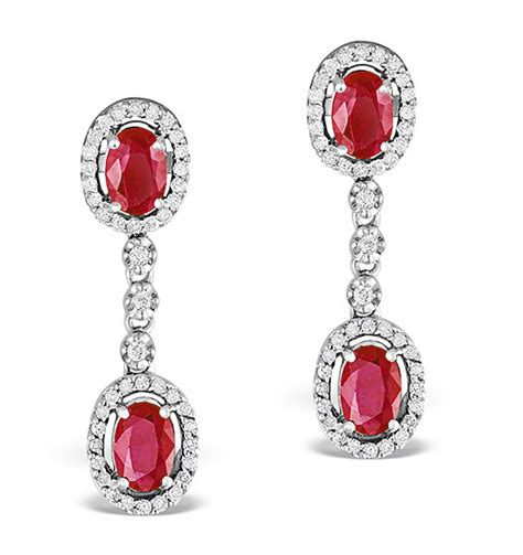 Ruby 4 55ct ruby 0 55ct and 9k white gold earrings item h4483