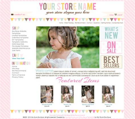 Buttercream Premade Boutique Website Template I Like The Words On The Right And The Pictures On Premade Boutique Website Templates
