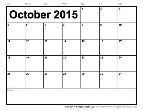 calendar october 2015 printable calendar template 2016