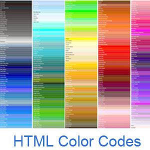 html color codes and names