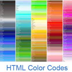 Html Color Codes And Names Color Code In Web Pages