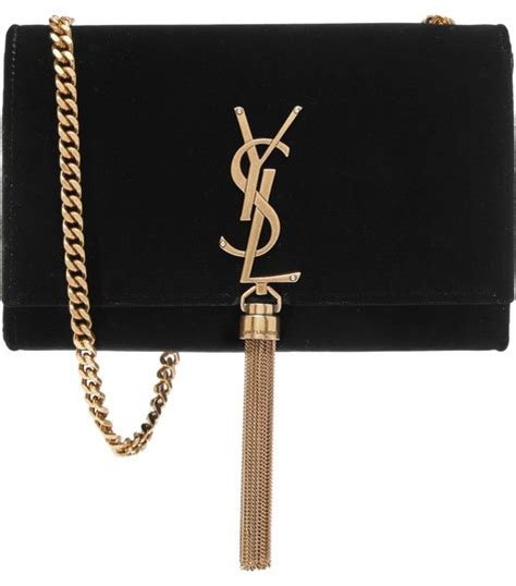 saint laurent black velvet monogram kate shoulder bag