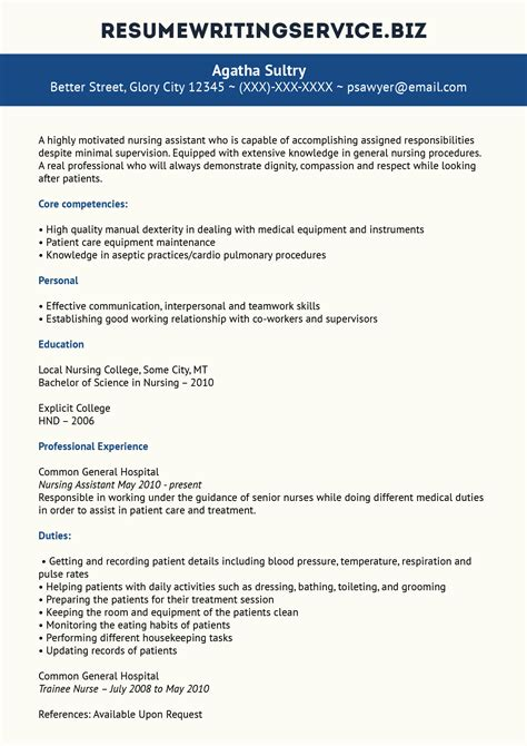 Writing A Nursing Resume by Professional Nursing Assistant Resume Exle Resume