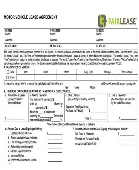 printable vehicle lease agreement printable lease agreement free premium templates