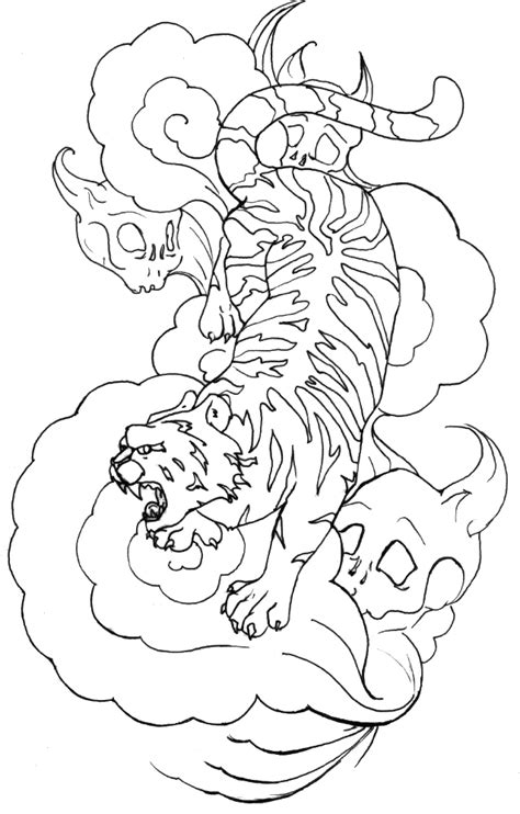 tiger tattoo outline designs outline tiger on clouds and skull monsters