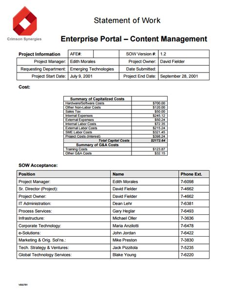 Statement Of Work S Docs For Salesforce Sow Template Pdf