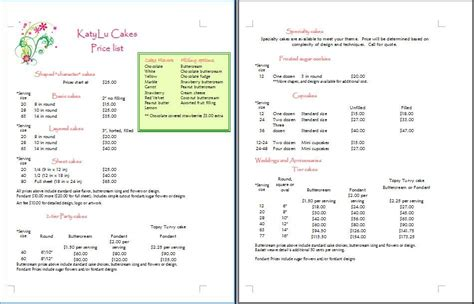 cake price list template cake price list template cakepins my business