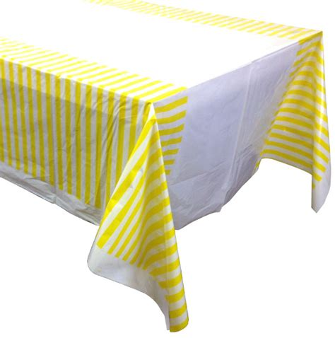 lemon yellow striped plastic tablecloth