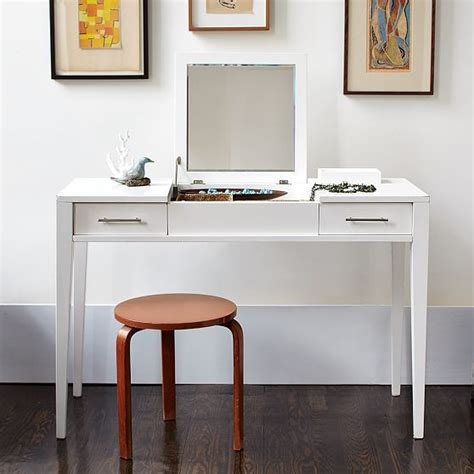 Narrow Vanity Table Narrow Leg Vanity Modern Nightstands And Bedside Tables By West Elm