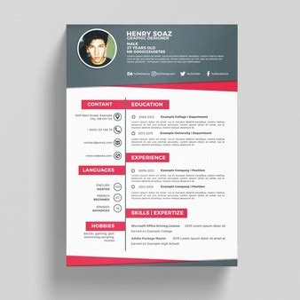 Cv Template Vectors Photos And Psd Files Free Download Pink Resume Template Free