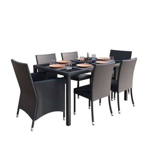 7 Wicker Patio Dining Set by Corliving Park Terrace 7 Wicker Patio Dining Set In