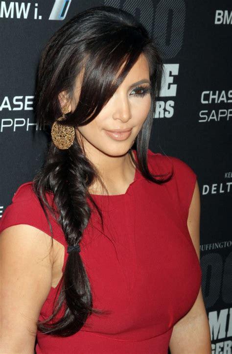 braided hairstyles kim kardashian kim kardashian sexy side inverted braid with bangs 2013