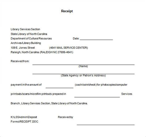 receipt template document receipt template doc for word documents in different types