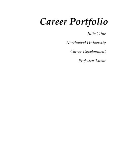 Cover Page For Portfolio Template cover page