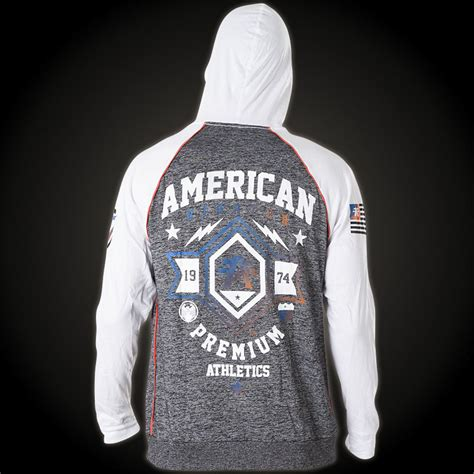 Hoodie Sweater Fighter Fei Grey Backfront Logo american fighter by affliction hoody with lots of lettering