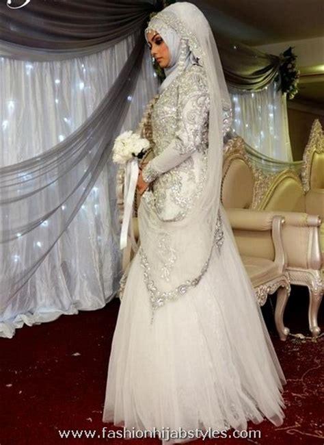 Gaun Mermaid Putih Baju Pengantin Berhijab Wedding Gown New islamic wedding dresses beautiful islamic wedding dress new modern fashion styles for