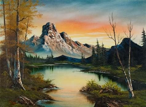 bob ross paintings auction bob ross mountain at sunset painting at paintingforsale me