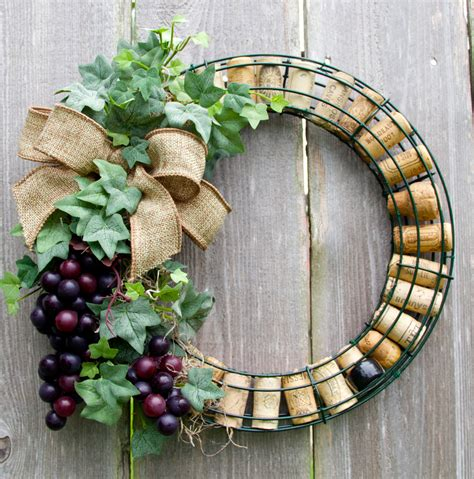 wine cork wreath with grapes by darsisdesigns on etsy wreaths dyis wine cork