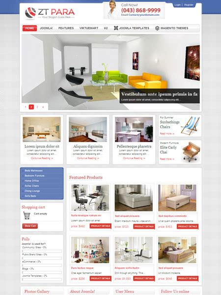 zt para joomla shopping cart template for furniture store