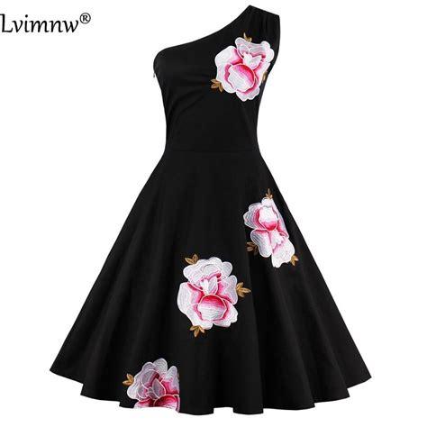 Mini Dress Pesta Eegan Biru Hitam Embroidery V Neck Import Murah wanita hitam promotion shop for promotional wanita hitam on aliexpress alibaba