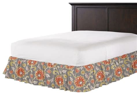 coral bed skirt modern coral and gray floral ruffle bed skirt