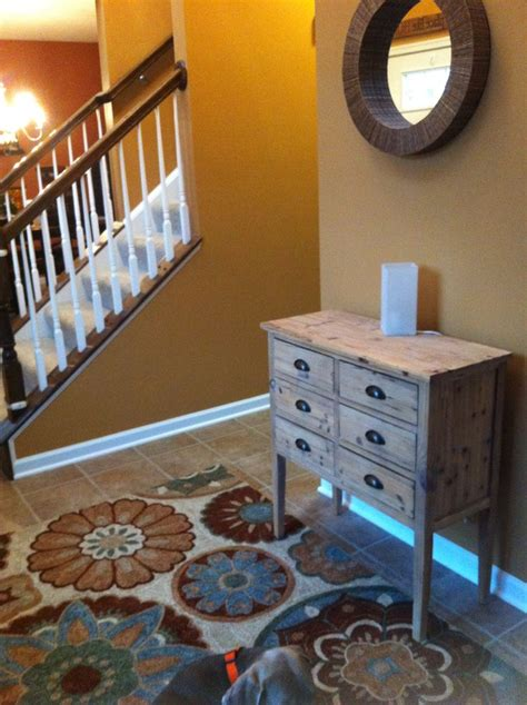 entryway upgrade sherwin williams color tatami bhg suzani rugs home goods entryway chest