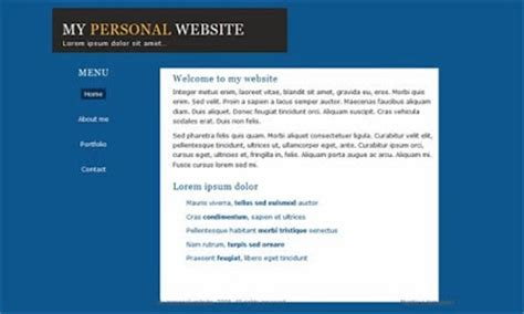 simple homepage template 7 html css personal website templates free