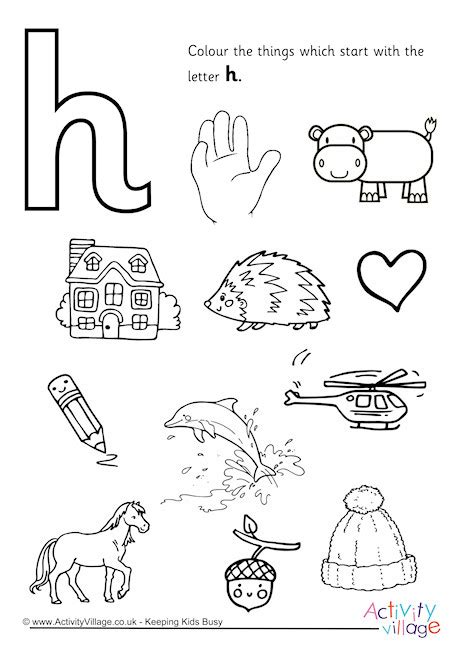 color that starts with h start with the letter h colouring page