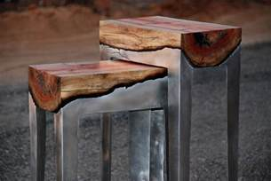 tin furniture designer hilla shamia fuses cast aluminum and tree trunks