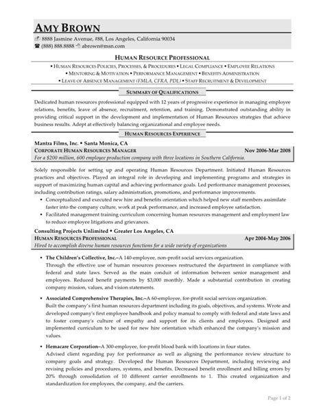 resume resources exles best human resources manager resume exle