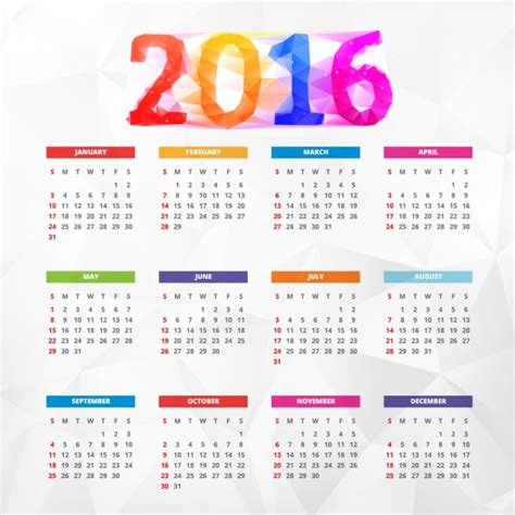 new year 2016 vector free colorful polygonal new year 2016 calendar vector free