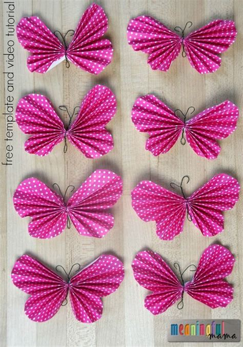 Paper Butterfly - how to make a folded paper butterfly fee template and
